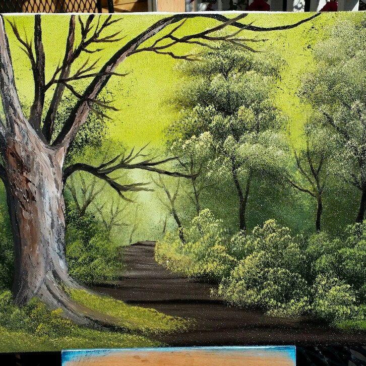 Bob ross Styleoriginal landscape.Oilpainting