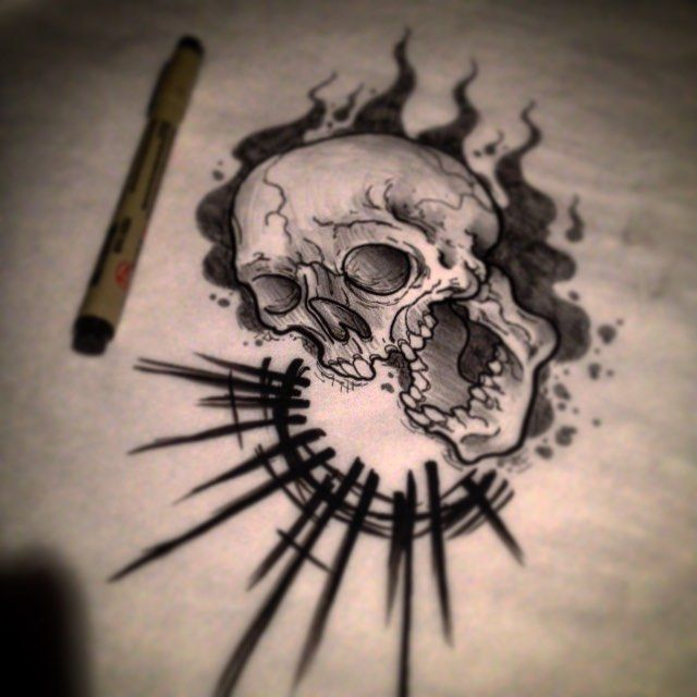 neo traditional skull tattoo - Google Search | Tattoos