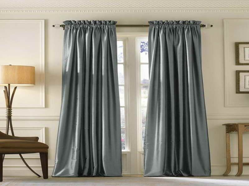 blue silk long curtains modern drapes home decor. Black Bedroom Furniture Sets. Home Design Ideas