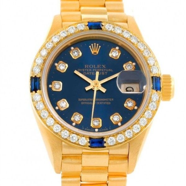 Pre-owned Rolex 69138 President Ladies 18k Yellow Gold Diamond... ($8,150) ❤ liked on Polyvore featuring jewelry, watches, 18k gold watches, diamond bracelet, blue sapphire bracelet, gold watches and 18k gold bracelet