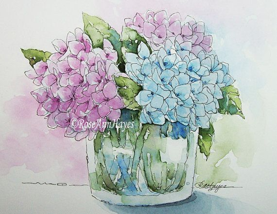 Watercolor Painting Print Hydrangeas Flowers Floral Garden Bouquet