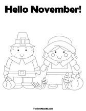 Hello November Coloring Page From Twisty Noodle My Favorite Website For Coloring Sheets All Season Thanksgiving Coloring Pages Coloring Pages Hello November
