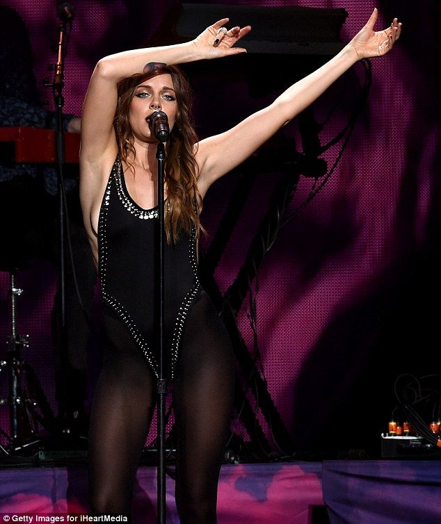 Swedish singer: Tove Lo performed in a black leotard and tights...