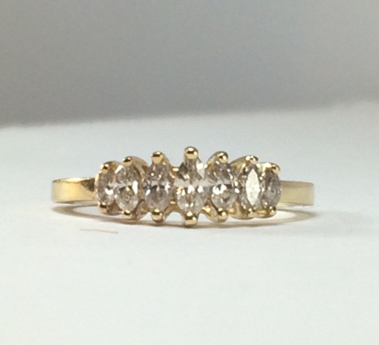 Marquis Diamond Band / Gold by SusansEstateJewelry on Etsy