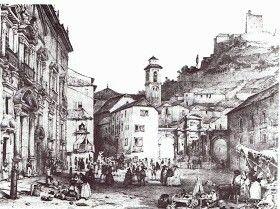Grabado de Plaza Nueva. Girault de Prangey (1835