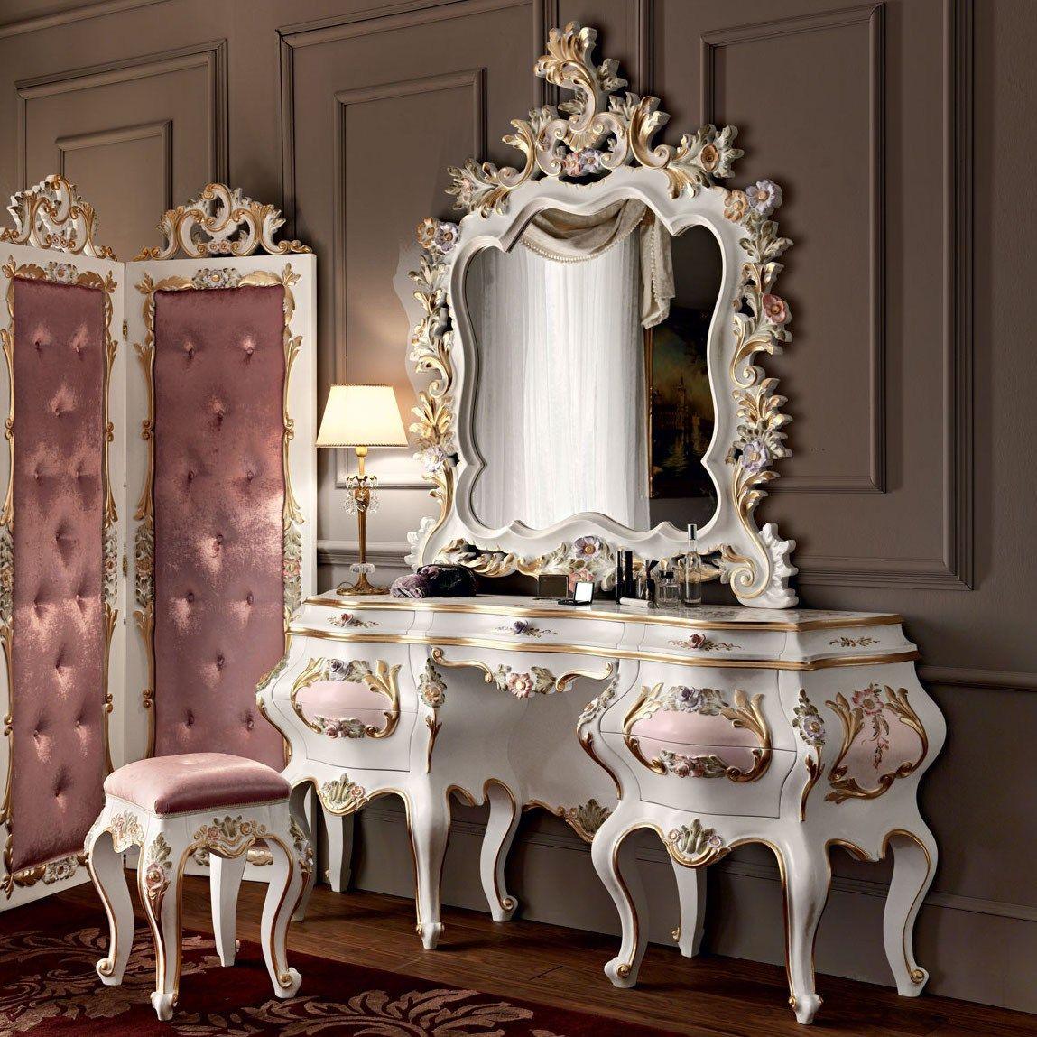 Hardwood toilette with figured mirror floral carves - Villa Venezia Collection…