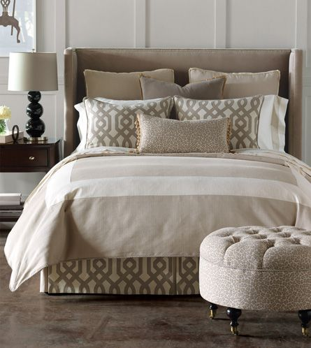 Love this new line in bedding so simple elegant and yet Elegant master bedroom bedding