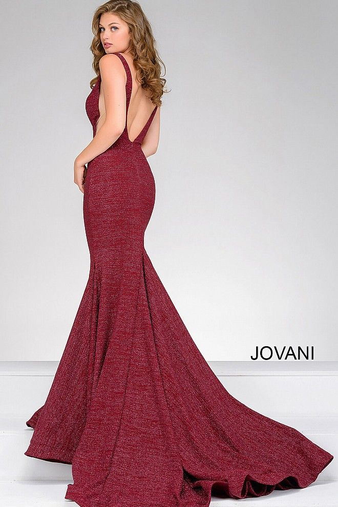 5e955207586 Wine Fitted Plunging Neckline Prom Dress 47075