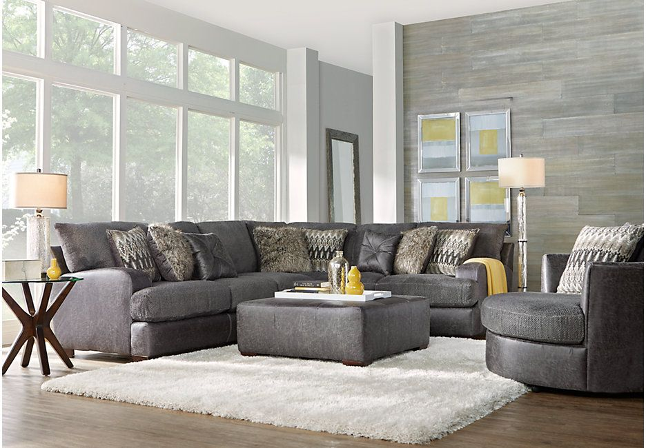 Skyline Drive Gray 3 Pc Sectional Living Room Living Room Sets Gray Living Room Sets Furniture Living Room Sectional Living Room Grey