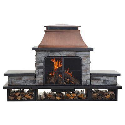 Superb $1550 Sunjoy Connan Steel Wood Outdoor Fireplace