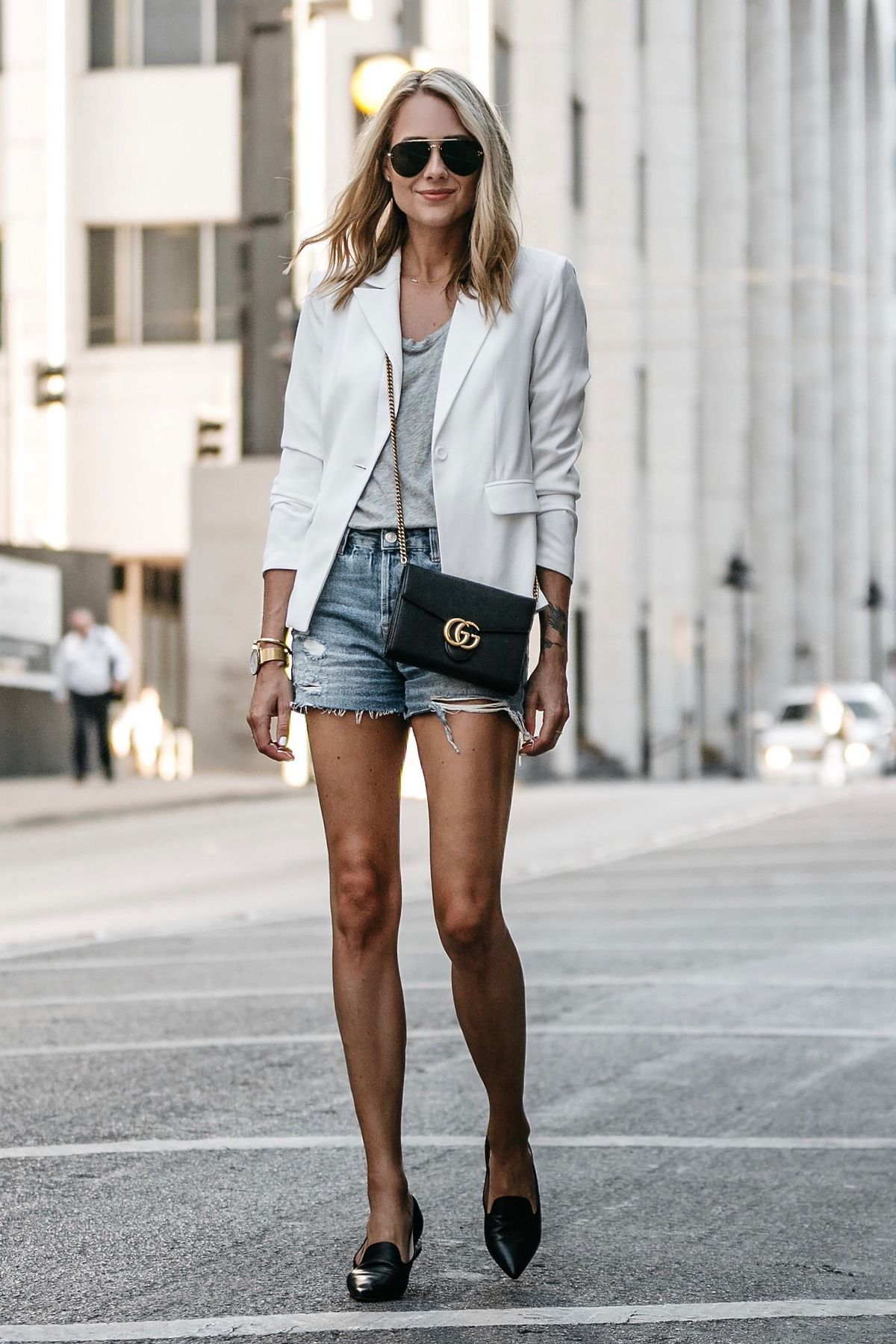ca8c5d14401 Blonde Woman Wearing Nordstrom White Structured Blazer Everlane Grey Tshirt Topshop  Ripped Denim Shorts Outfit Gucci Marmont Handbag Black Loafers Fashion ...