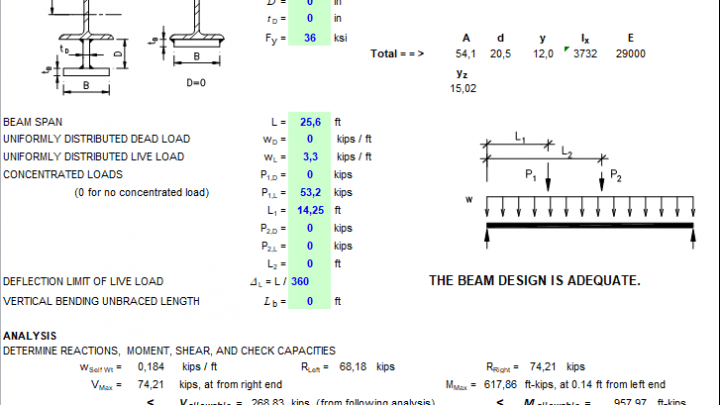 Enhanced Steel Beam Design Spreadsheet | Worksheets | Steel