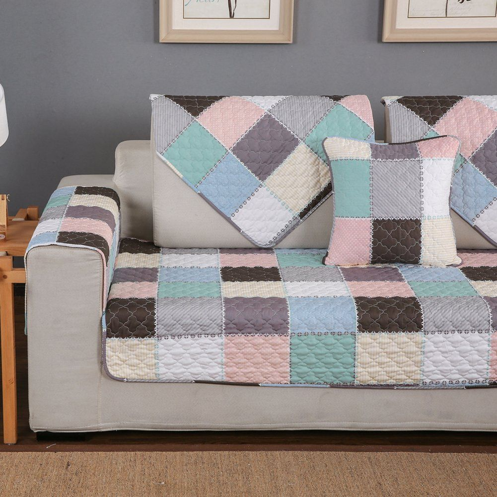 Hotniu Nonslip Quilted Sectional Sofa Slipcover Cotton L Shape