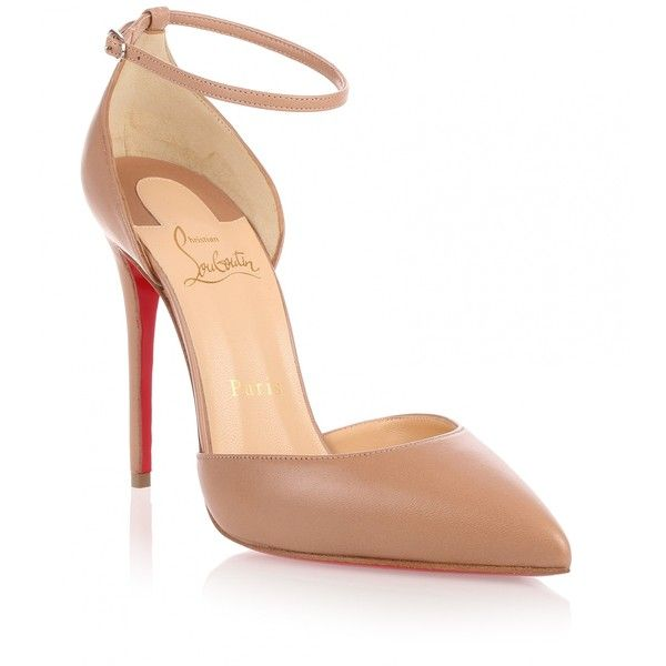 Christian Louboutin Uptown 100 Beige Leather Pump (2.050 BRL) ❤ liked on Polyvore featuring shoes, pumps, heels, louboutin, beige, beige leather pumps, pointed toe pumps, ankle strap pumps, leather pumps and high heel shoes