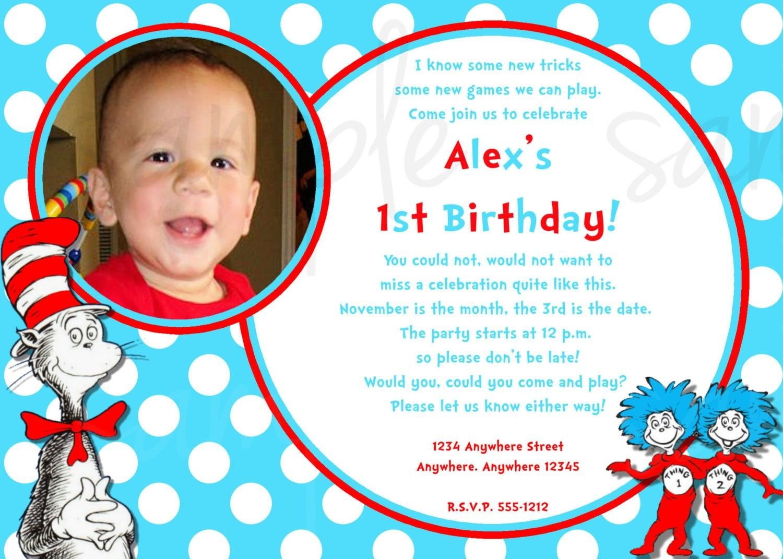 Dr Seuss 1st Birthday Invitations Wording Dr Seuss Ideas