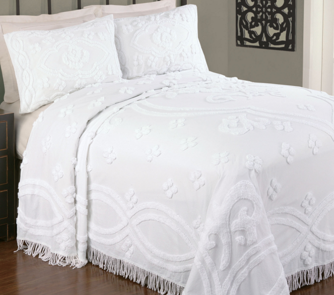 White Chenille Bedspread Overall White Colored Made Of Cotton Chenille Bedspread Features Florals And Scroll Patterns So Tha Bed Spreads Chenille Bedspread Bed
