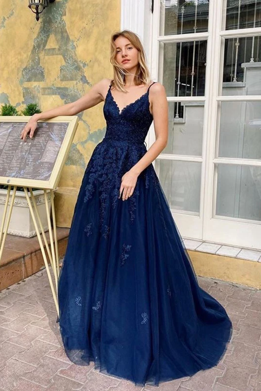 Elegant V Neck Appliques Long Prom Dresses Spaghetti Straps Evening Dresses