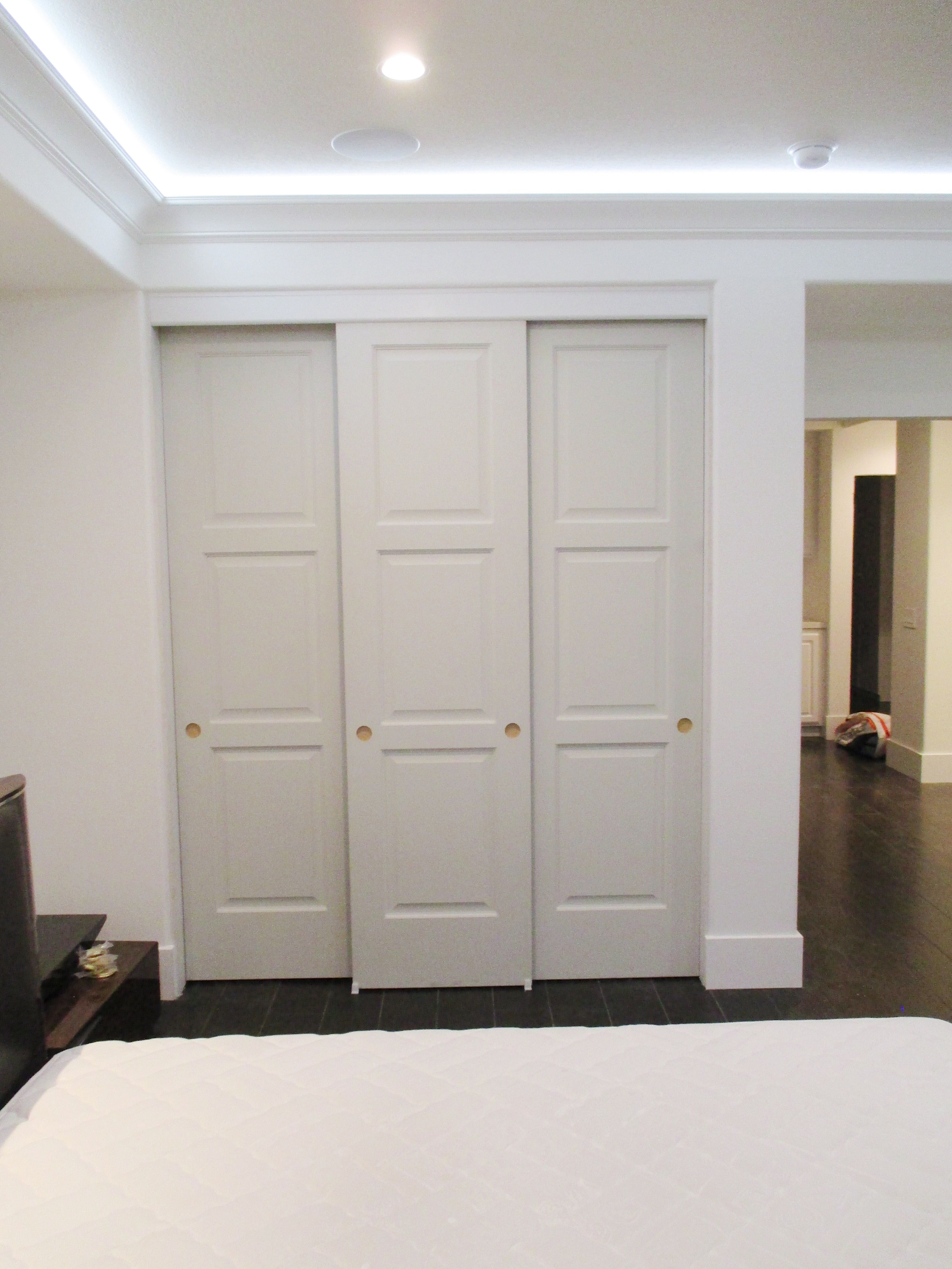 We Recently Installed These 3 Track 3 Panel Hollow Core Top Hung Closet Doors If It S Time To Replace Your Old Closet Do Old Closet Doors Closet Doors Home