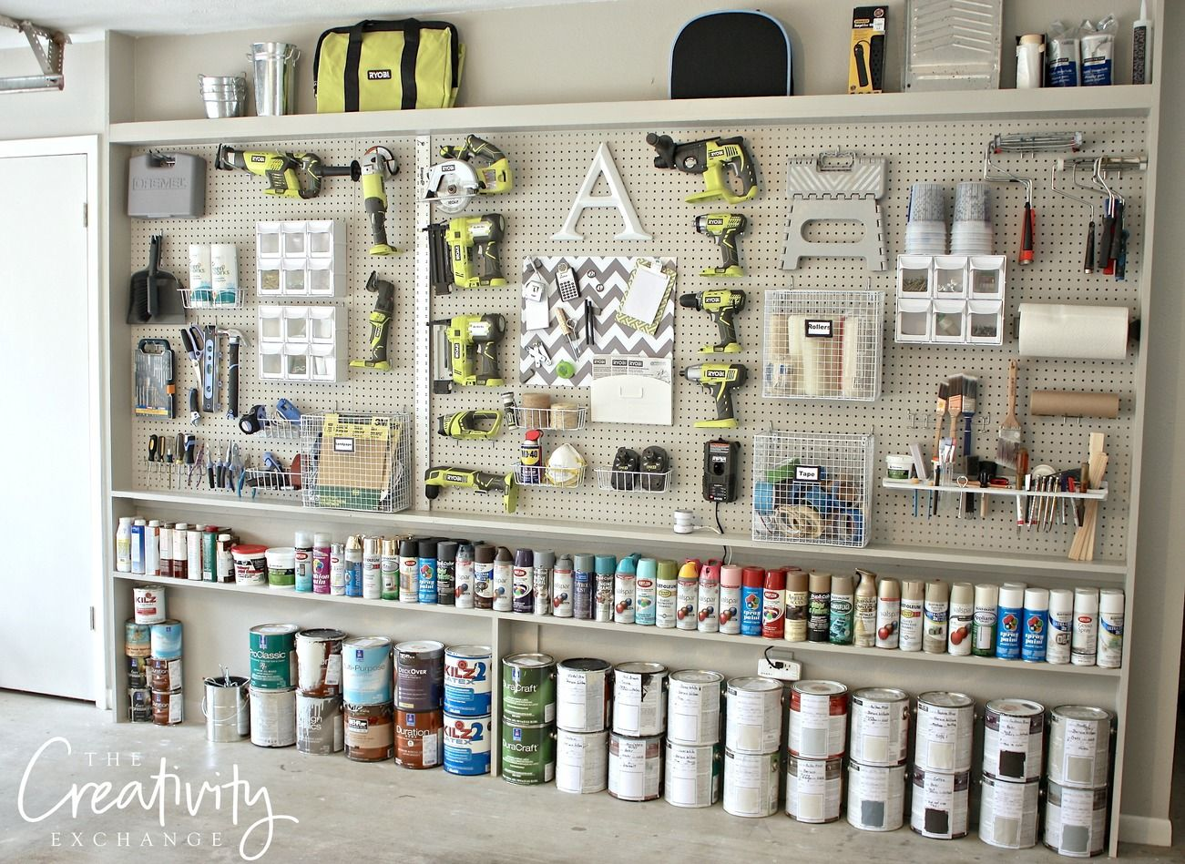 diy shelves organize pin storage cabinets garage