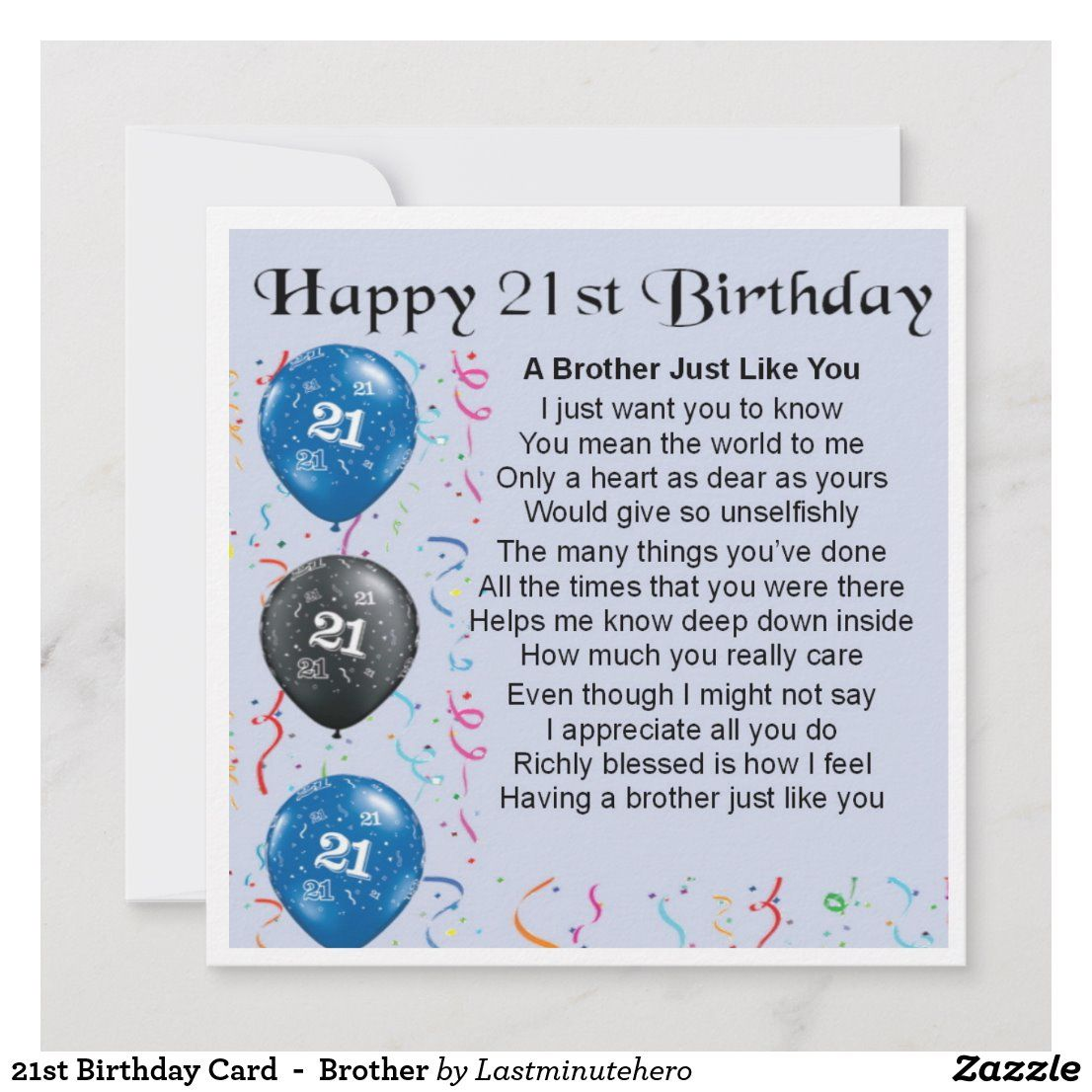 21st Birthday Card Brother Zazzle.co.uk 21st