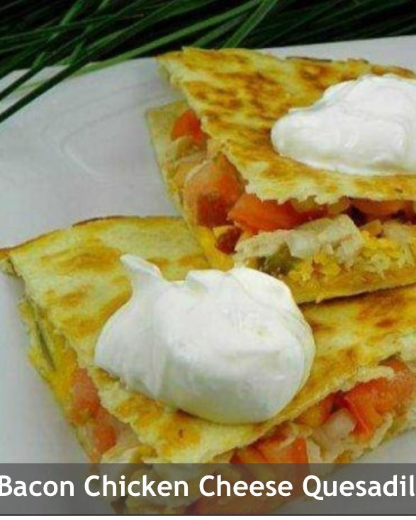 Bacon Cheese Quesadillas - I ran out of chicken on hand but made them with jalapeños, onions, bacon, and they were delish.