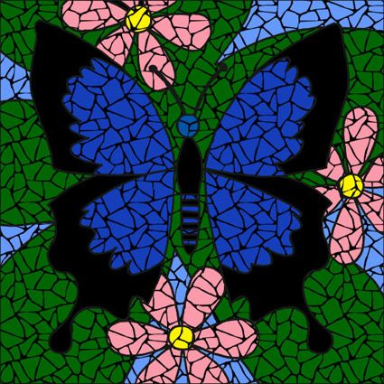 Monarch Butterfly with Pink /& Blue Flowers Stained Glass Mosaic Art Panel in Frame 5 x 7 inches