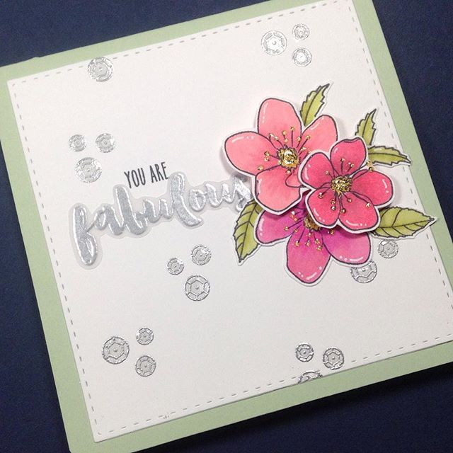 Combined the Sweet As Honey and Beautiful Life stamp sets from @honeybeestamps to make this card! Such sweet stamps#handmadecard #squarecard #beautifullife