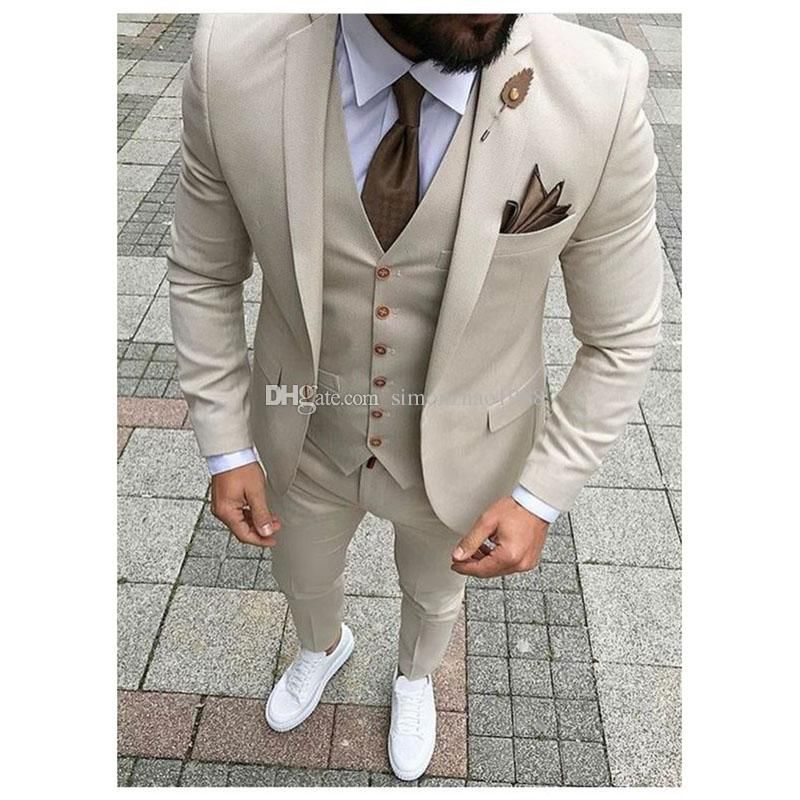 New Design Custom Made Light Grey Groomsmen Wedding Suits For Men Groom Tuxedos Mens Suit Business Party Suitjacket Pants Vest Tie Prom Suits Wedding Suits For Dress Suits For Men Prom Suits Wedding