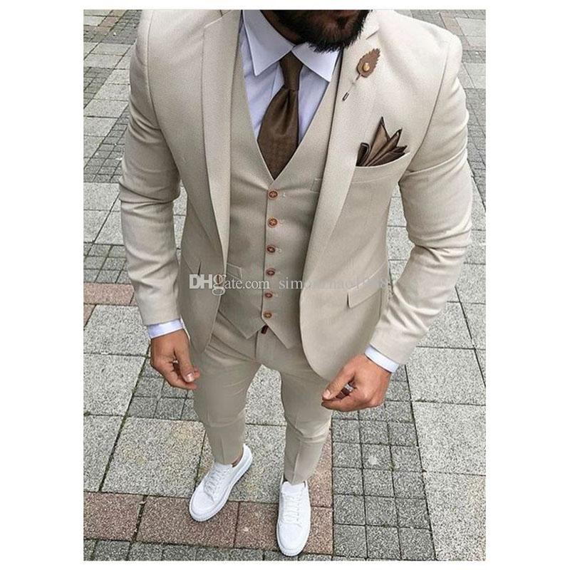 New Design Custom Made Light Grey Groomsmen Wedding Suits For Men Groom Tuxedos Mens Suit Business Party Suitjacket Pants Vest Tie Prom Suits Wedding Suits For Dress Suits For Men Prom Suits Wedding