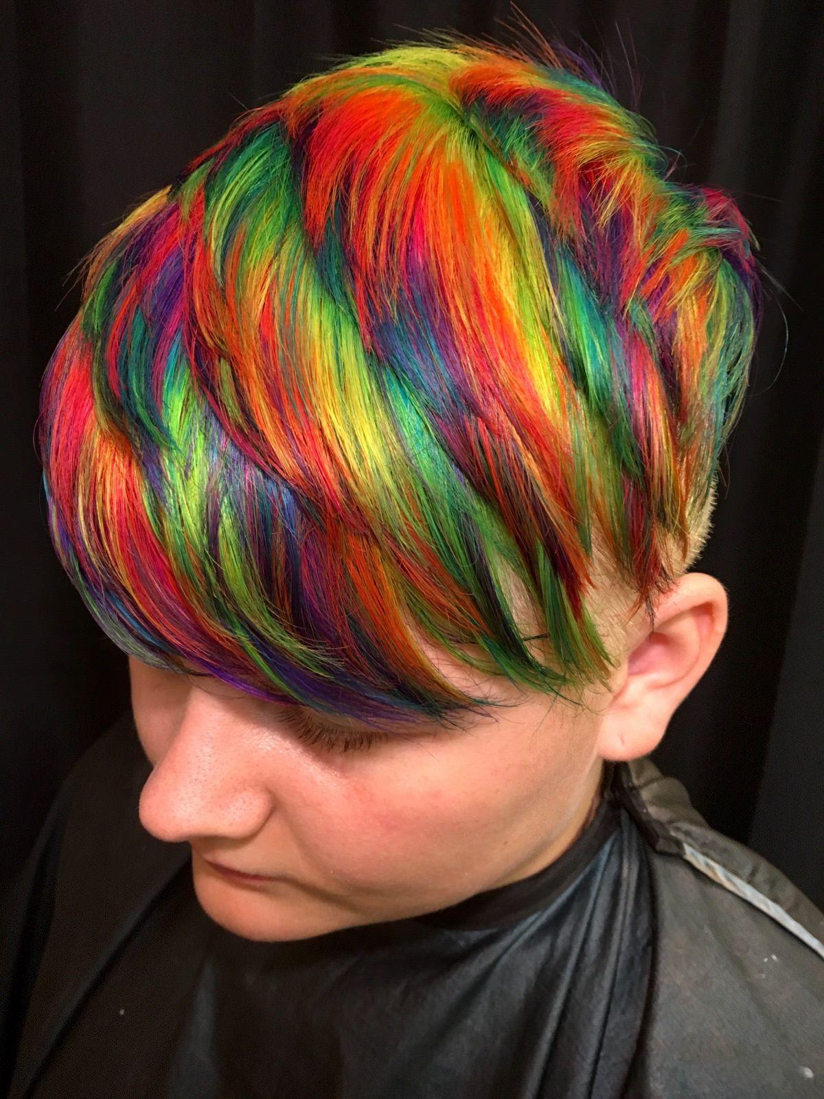 rainbow pixie hair on Haley  Trendy short hair styles, Short