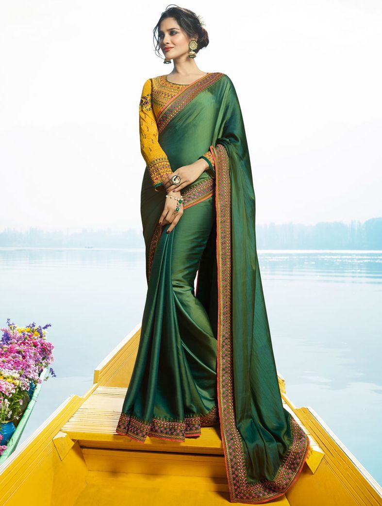 848bbc6365 Buy Green Color Barfi silk designer party wear saree in UK