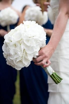White Hydrangea Bouquet With The Horizon Blue Dresses For Maid Matron Of Honor With Images Flower Bouquet Wedding White Wedding Flowers Wedding Flowers Hydrangea