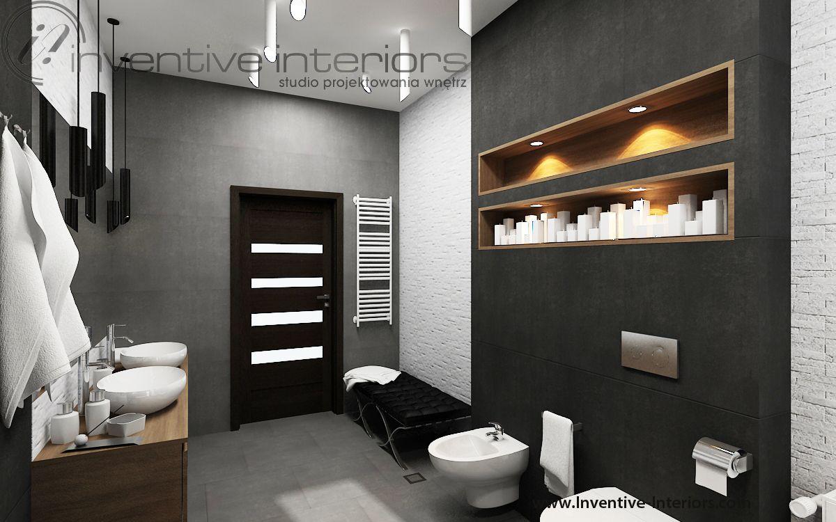 Projekt Lazienki Inventive Interiors Grafitowe I Szare Plytki Oraz Bialy Kamien W Lazience Wneki Lighted Bathroom Mirror Bathroom Lighting Bathroom Mirror