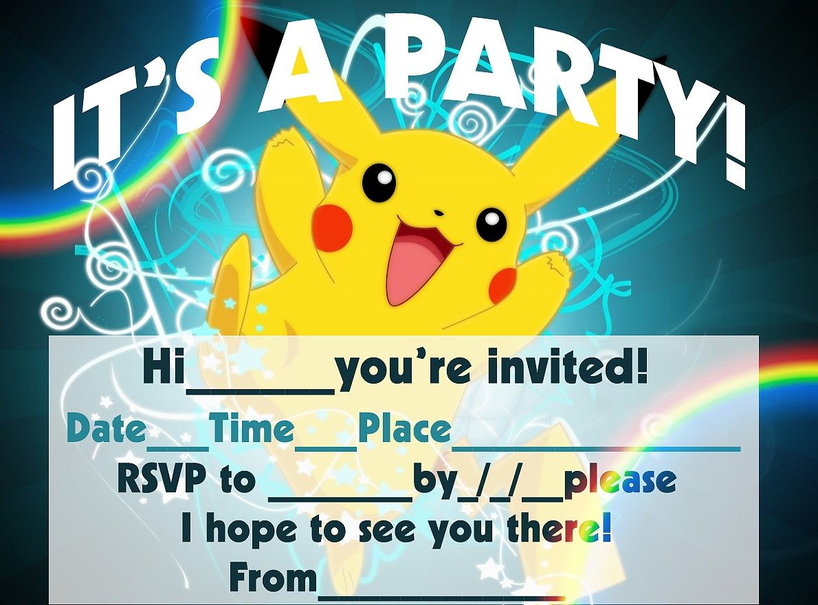 Pokemon Birthday Invitation Templates Free Pokemon Birthday