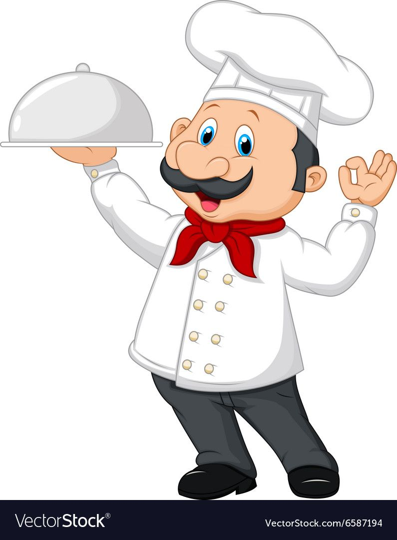 Illustration Of Cartoon Happy Chef Holding A Silver Platter