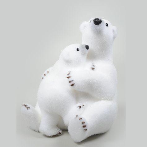 maman et b b ours bisous blanc animaux d co no l. Black Bedroom Furniture Sets. Home Design Ideas