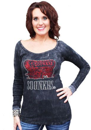 Gameday Couture Oklahoma Sooners Womens Sequin Thermal Scoop Neck Tee