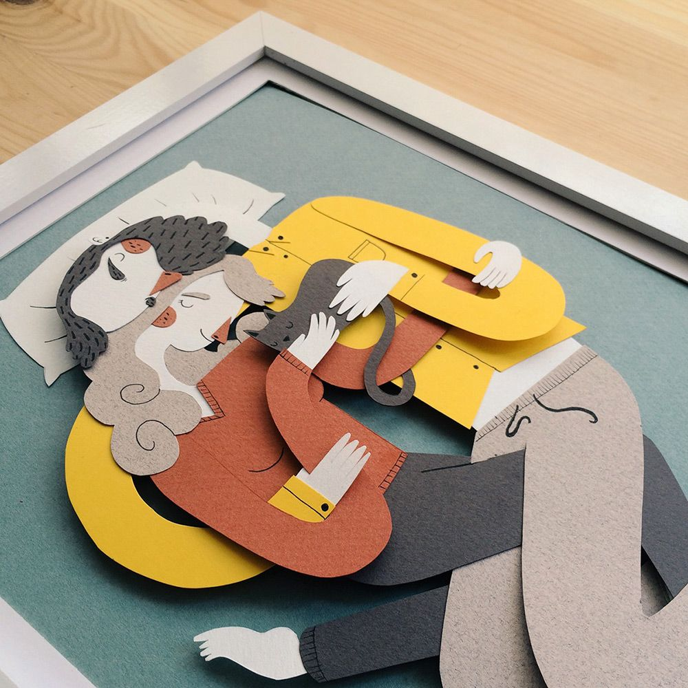 Family Portraits Illustrated with Paper by Jotakå -- hugging, all wrapped up in each other