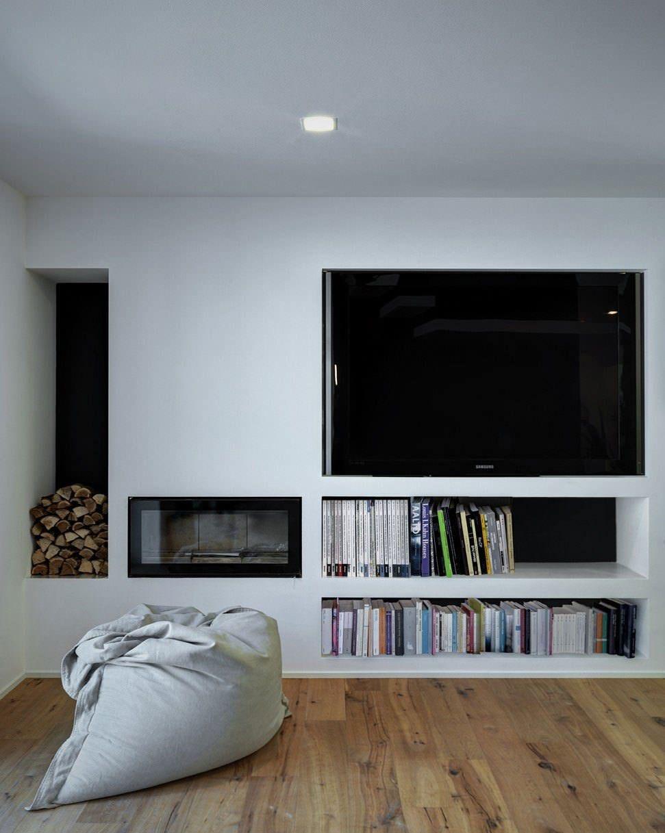 Pareti Attrezzate Moderne Con Camino parete attrezzata in cartongesso per un soggiorno moderno