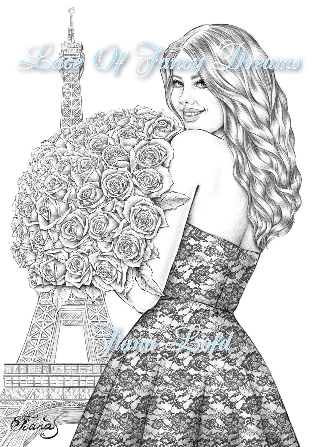 Pdf Coloring Page Woman Love Flowers Roses Bouquet Paris Etsy In 2020 Coloring Pages Princess Coloring Disney Drawings