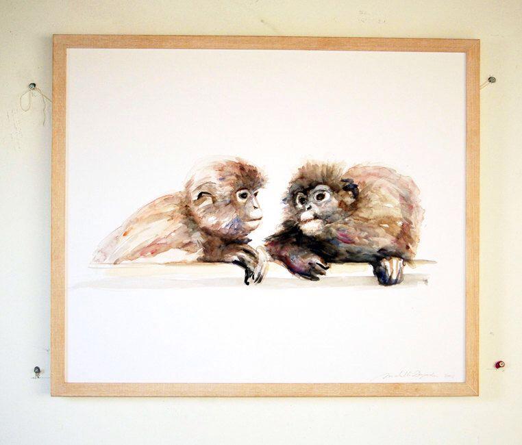 Origineel waterverf schilderij van twee aapjes dier schilderij op groot formaat aquarel apen - Schilderij kooi d trap ...