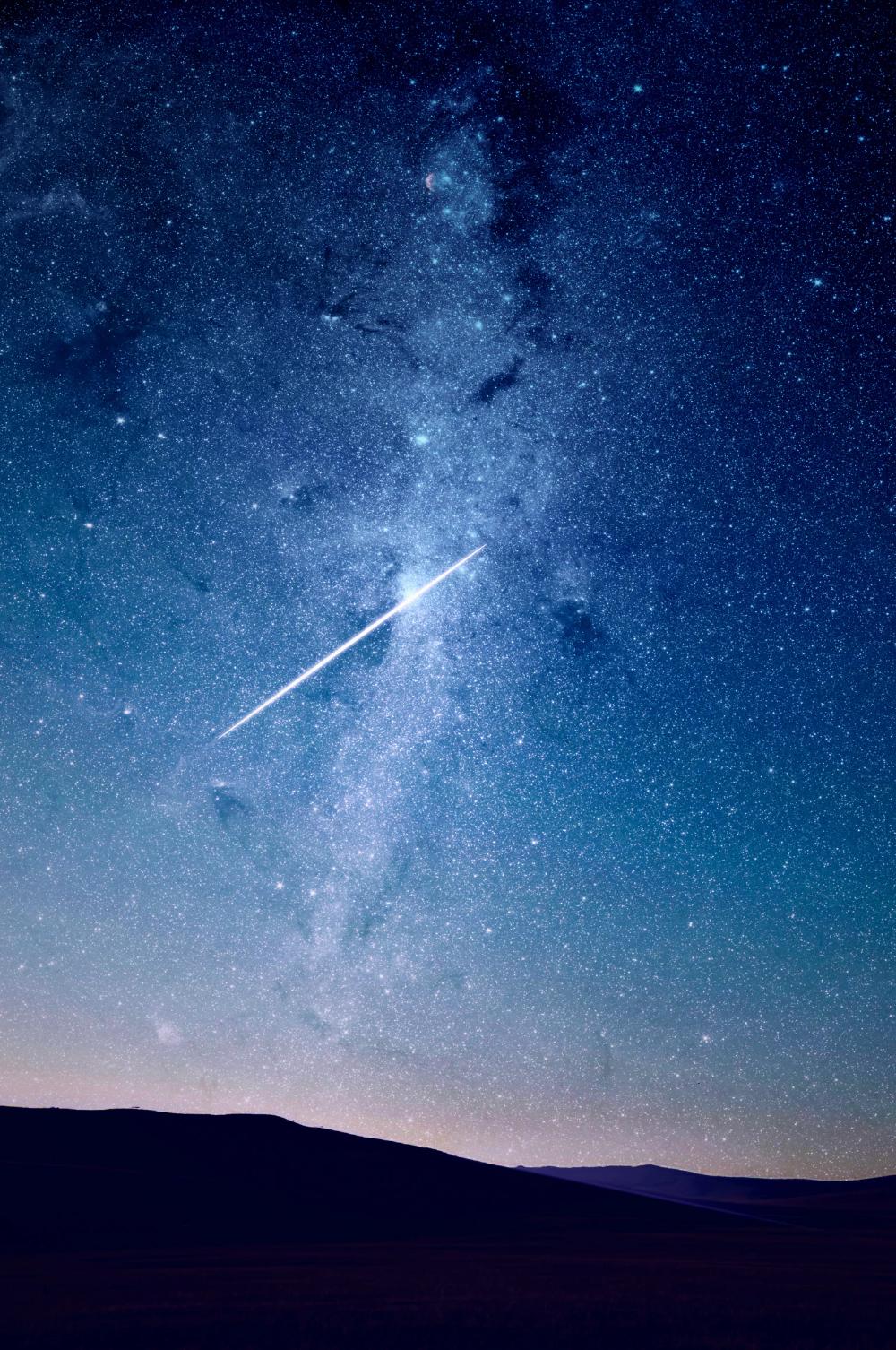 Shooting Star Under Blue Sky Photo Free Space Image On Unsplash Sky Photos Night Sky Stars Starry Night Sky
