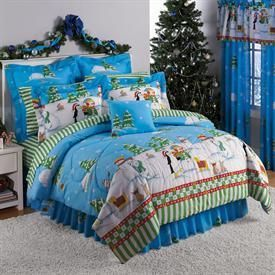Full Queen King Blue White Christmas Holiday Snowman Comforter Bed