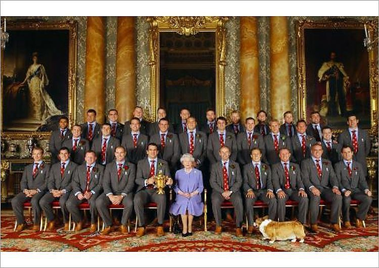 Print Of Rugby Union World Cup 2003 England Celebrations Queen Elizabeth Corgi Elizabeth Ii