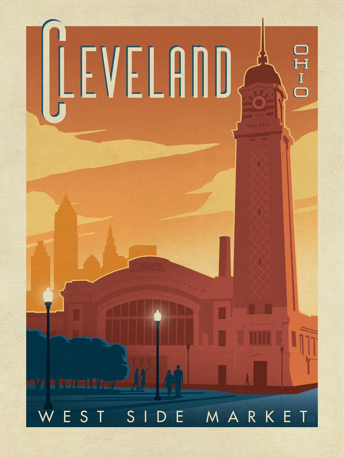 Vintage Travel Poster A1,A2,A3,A4 Sizes Union Terminal Building CLEVELAND USA.