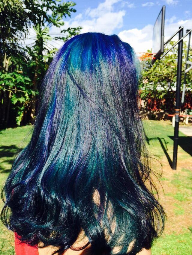 Blue with Purple Peekaboos #HairbyAngieRoman