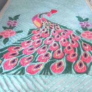 Peacock-Chenille-Bedspread-Vintage-Teal-Blue-Green-90-x-103-Inch-Full-or-Twin