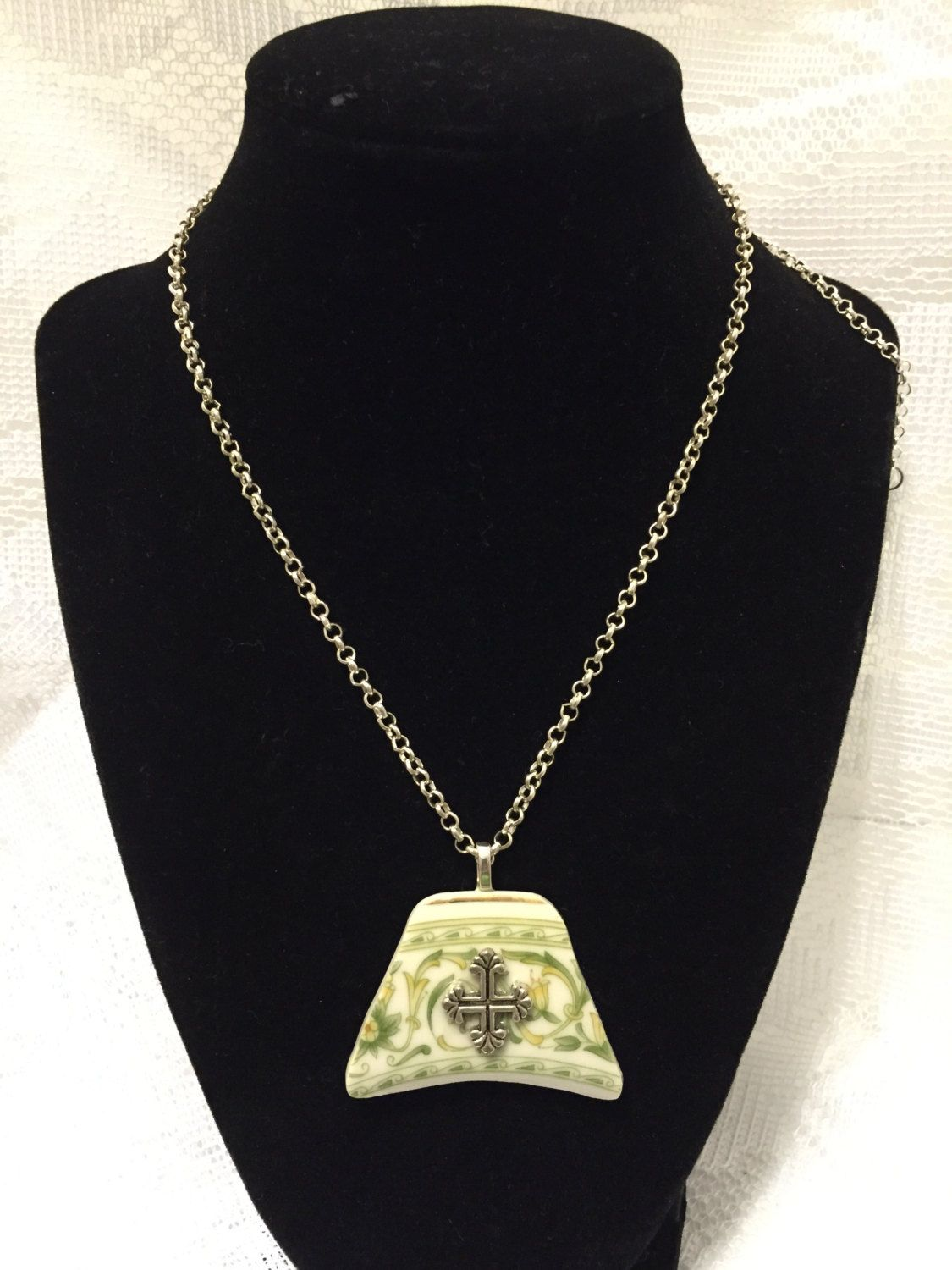 Exquisite Recycled Broken Plate Green Pattern Pendent with Cross Accent by SimpleEleganceCole on Etsy