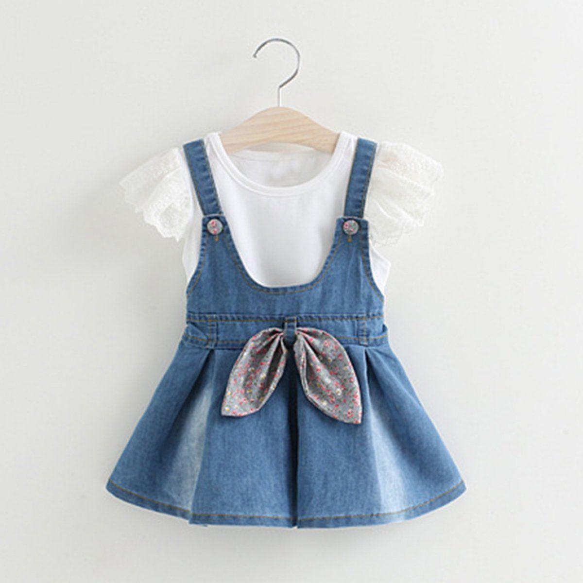 82065ec7954 $10.09 - Toddler Kids Baby Girls Outfits Clothes T-Shirt Tops+Strap Denim  Dress 2Pcs Sets #ebay #Fashion