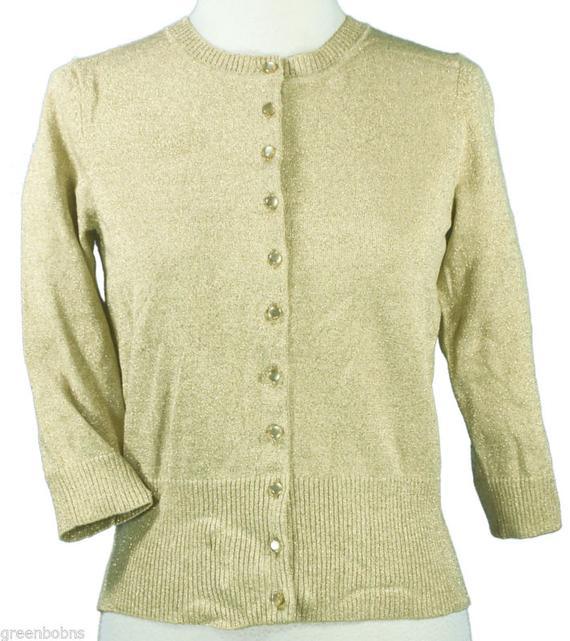 Grace Elements Petite Ladies Gold Lame' Knit Cardigan Sweater Sz ...